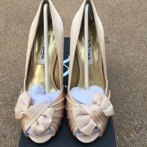Nina Forbes YS Gold Royal Satin Peep-Toe Pumps